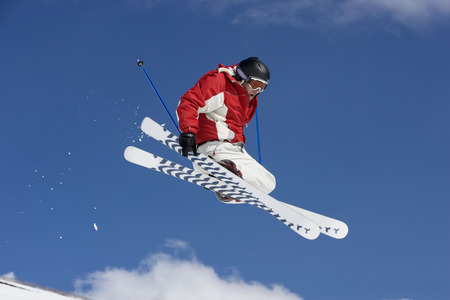 Skier performing jumping trick