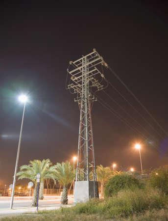 Power pylon at night