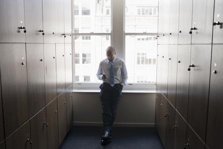 Businessman in a locker room Stock Photo