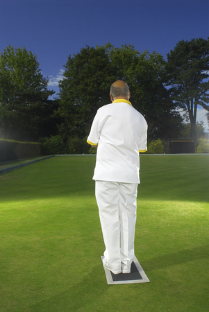 bowler about to bowl Banco de Imagens