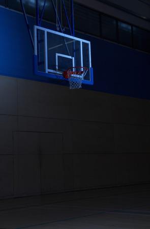 Empty basketball court goal