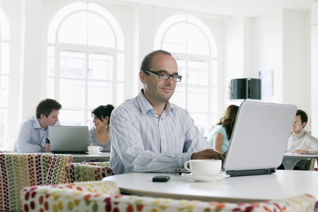People working on laptops in office