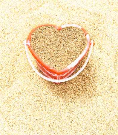 Heart shaped bucket of sand