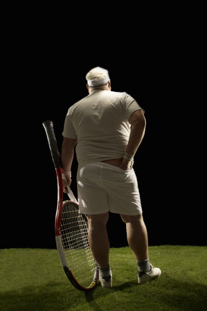 Large tennis player rear view