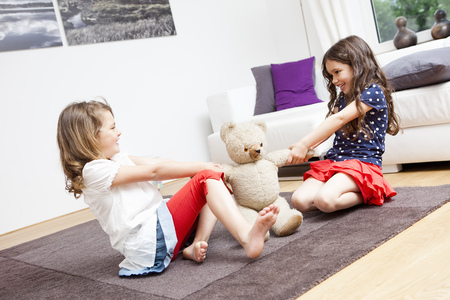 Two girls battle for a teddy bear