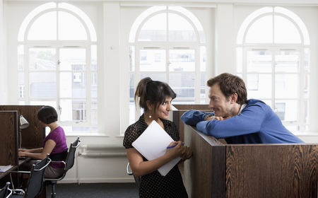 Couple flirting in Business center Stock Photo