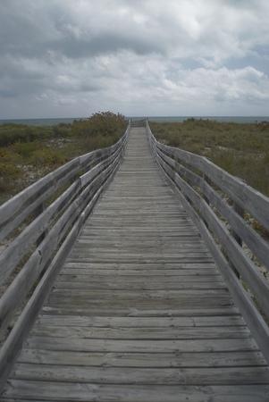 Wooden boardwalk to beach