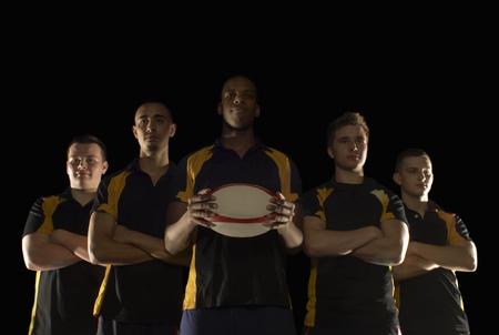 Row of rugby players 版權商用圖片