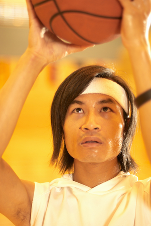 Chinese basketball player aiming