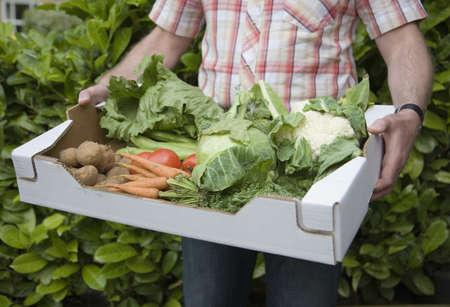 Man holding box of fresh vegetables