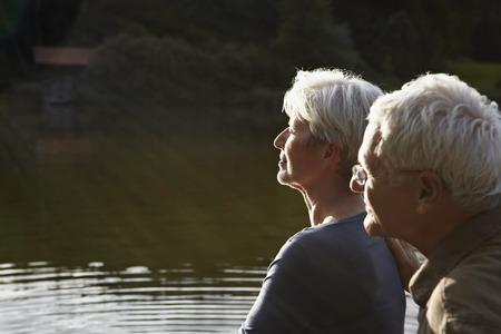Senior couple enjoying sunset Stock Photo