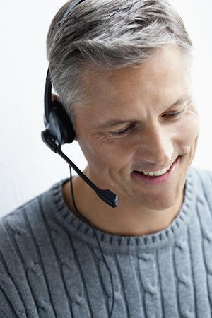 Man with headphone close-up