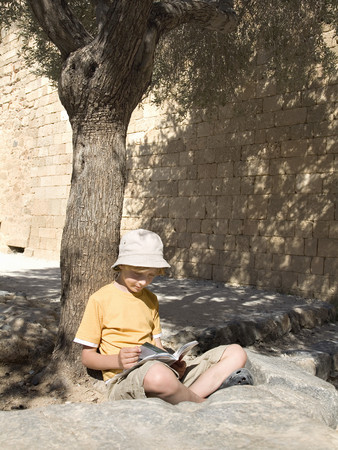 Boy reading book under a tree