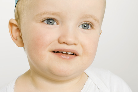 trusted: Close up of upset toddler Stock Photo