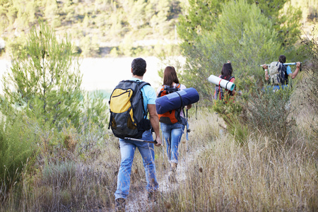 Teenagers going for hiking