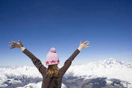 Girl looking at mountains