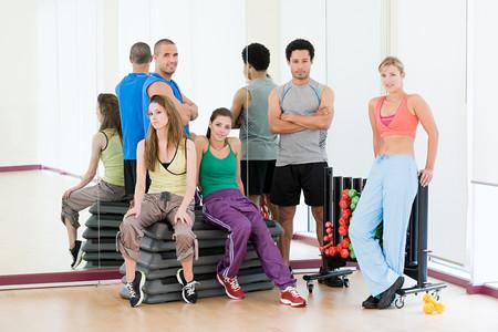 mirror image: People in exercise studio