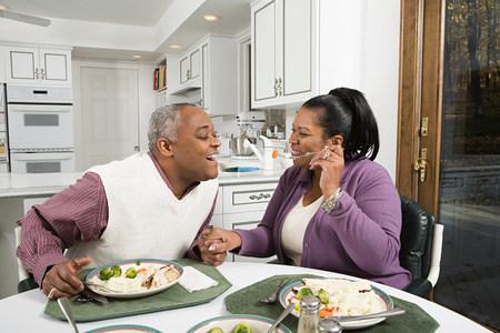 Mature couple enjoying a meal