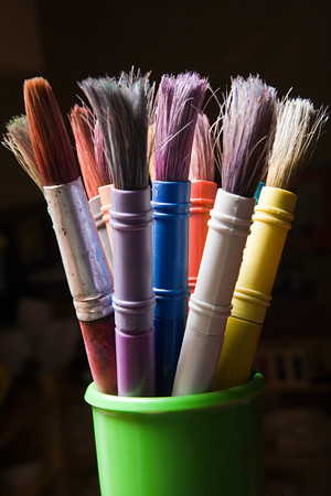 Paintbrushes in a pot Stock Photo