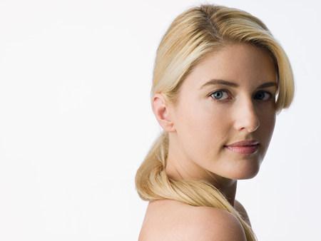 Portret van een blanke vrouw Stockfoto
