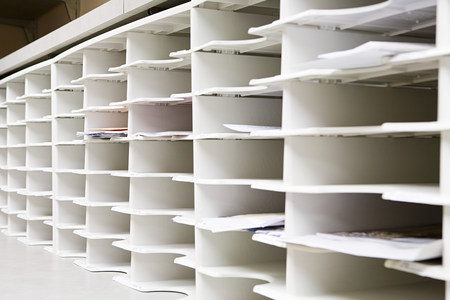 Rows of office pidgeon holes