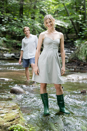 Couple in river Stock Photo