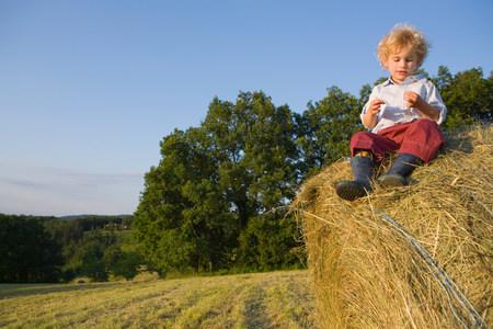A boy sitting on a haystack