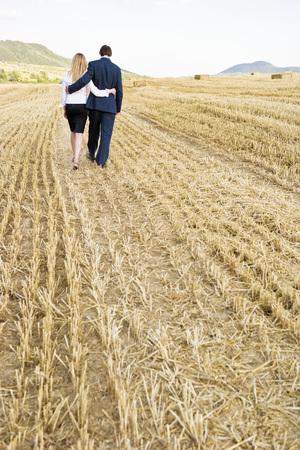 forbidden love: Couple in a wheat field. Stock Photo