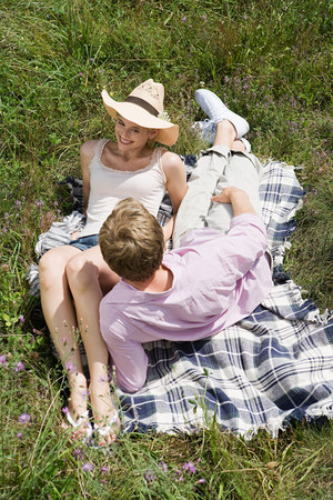 bedspread: Couple on a blanket in a field