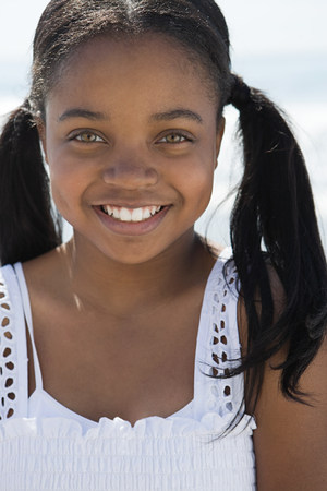 African american girl with pigtails Standard-Bild