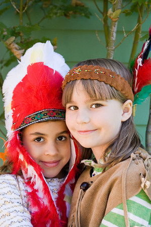 Two girls in Native American costumes Stock Photo