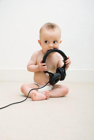 Baby with head phones