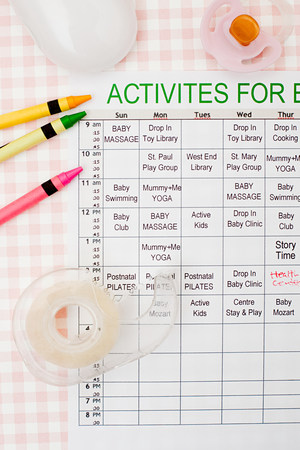 Timetable of activities for baby