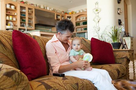 Senior woman with baby grandson Stock Photo
