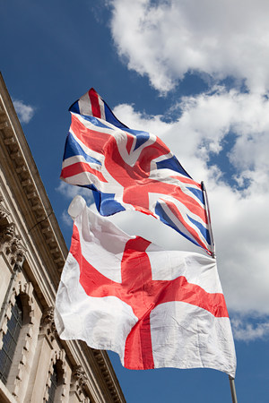 British and English flags, London Stock Photo