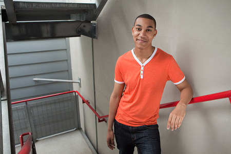 Young man on stairwell