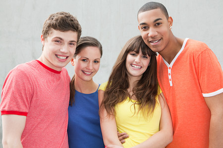 Four young friends Stock Photo