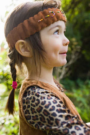 Girl dressed as Native American
