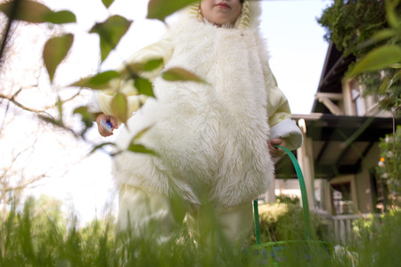 Young boy dressed as Easter bunny Stock Photo