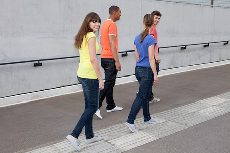 Young people walking Stock Photo