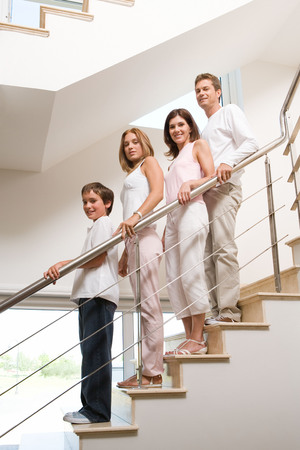 Family on stairs Stock Photo