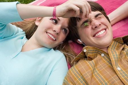 Teenage couple fooling around Stock Photo