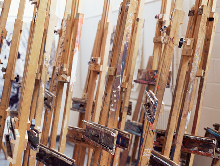 Easels in classroom