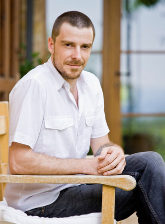 Portrait of man relaxing in a garden