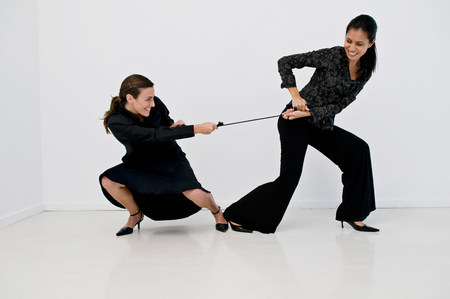 Women having a tug of war Banque d'images - 113889075