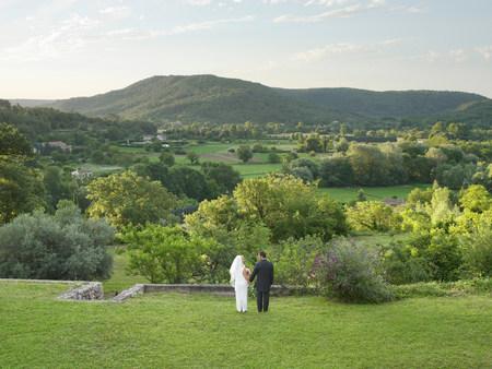 Rear of wedding couple in garden Reklamní fotografie