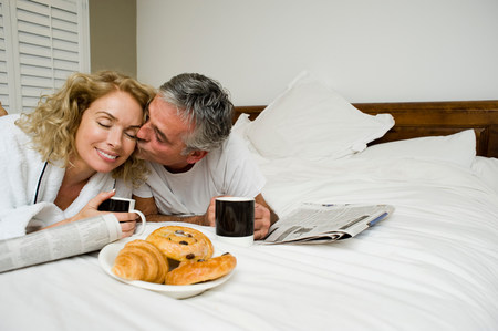 Man and woman having breakfast