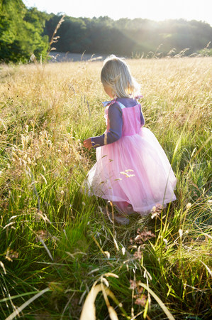 Girl dressed as a princess,  in a field