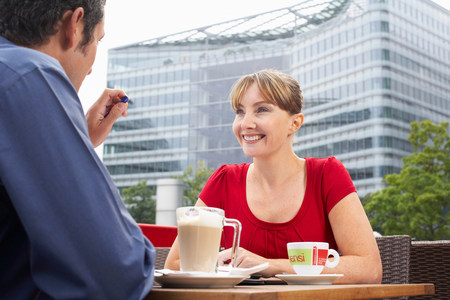 Two office workers outside Stock Photo