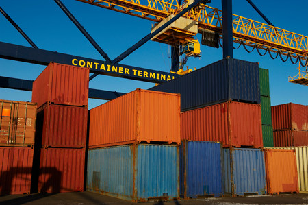 Containers in stacks at port 写真素材